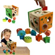 Dazzling Toys Wooden Shape Sorting Cube, Educational Toy for Children, 9 Geometric Shape Blocks, Double-Sided Assorted Color Pieces with Number / Design
