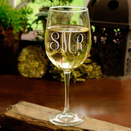 Personalized White Wine Glass - Monogrammed White Wine Glass - Monogram Glasses