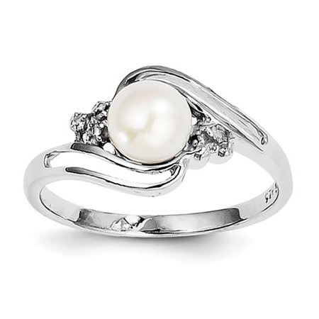 Sterling Silver Rhodium 6mm Freshwater Cult Button Pearl & Diamond Ring