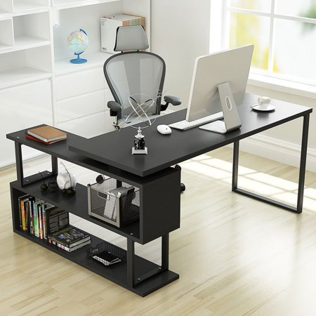 Tribesigns Modern L Shaped Desk 55 Inch Rotating Corner Computer Desk Study Writing Table