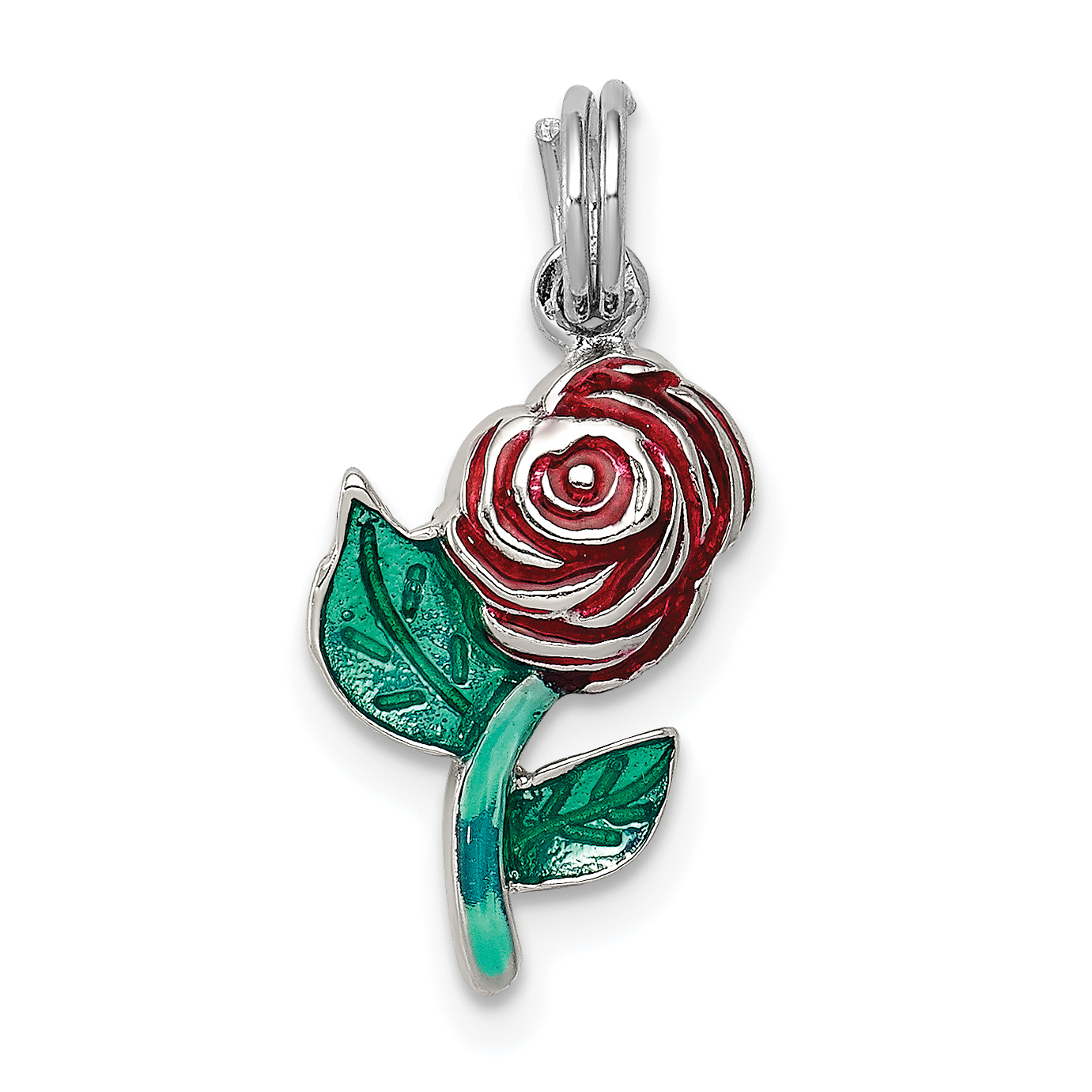 Sterling Silver Red Rose Pendant For Women Fine Jewelry