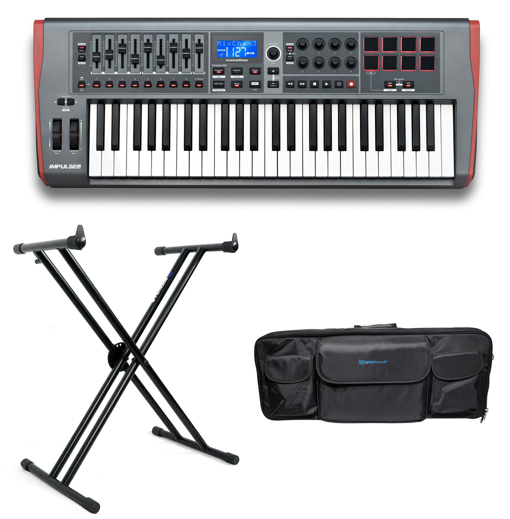 Novation IMPULSE 49-Key USB MIDI Keyboard Controller+Stand+Carry Bag
