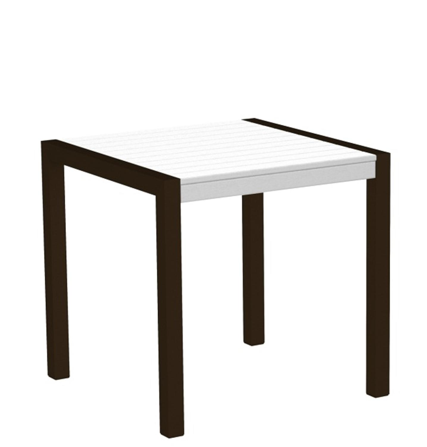 "30"" Recycled Earth-Friendly Outdoor Bistro Table - White with Bronze Frame"
