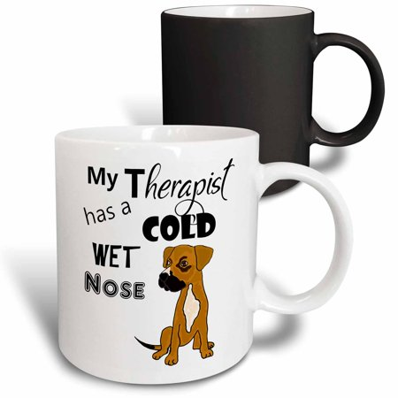 3dRose Fun My Therapist has a Cold Wet Nose Boxer Mix Rescue Dog - Magic Transforming Mug, (My Dog Has A Cold Wet Nose)
