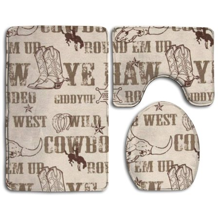 EREHome Cowboy Culture 3 Piece Bathroom Rugs Set Bath Rug Contour Mat and Toilet Lid Cover - image 1 of 2