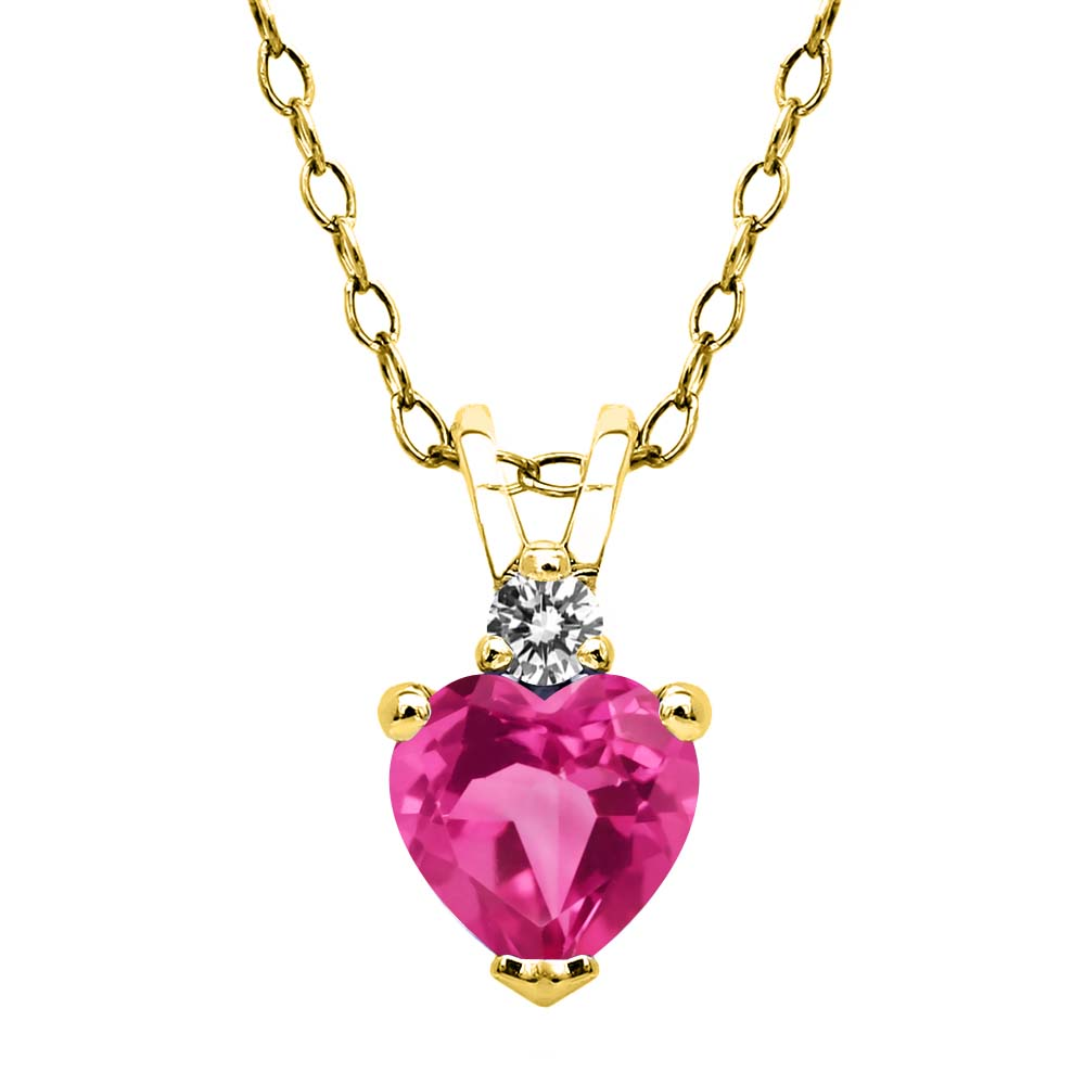 0.63 Ct Pink Created Sapphire White Diamond 18K Yellow Gold Plated Silver Pendant by