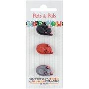 Buttons Galore Pets & Pals 3/Pkg-Lying Cats
