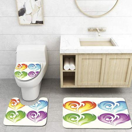 XDDJA Set Burning Heart 3 Piece Bathroom Rugs Set Bath Rug Contour Mat and Toilet Lid Cover - image 1 of 2