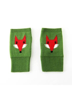 Cute Soft Cozy Green Knitted Fingerless Fox Design Gloves