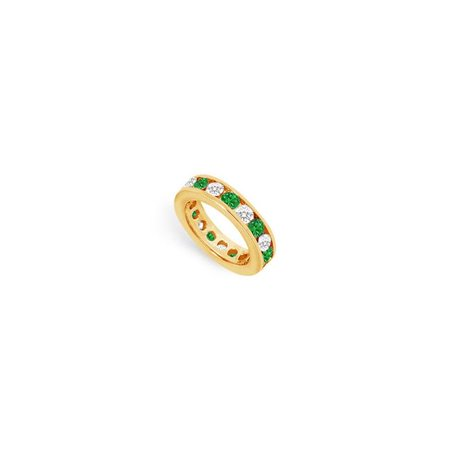 18K Yellow Gold 3.00 CT TGW Diamond & Emerald Eternity Band for Third Wedding Anniversary Gift - Size 5 - image 1 de 1