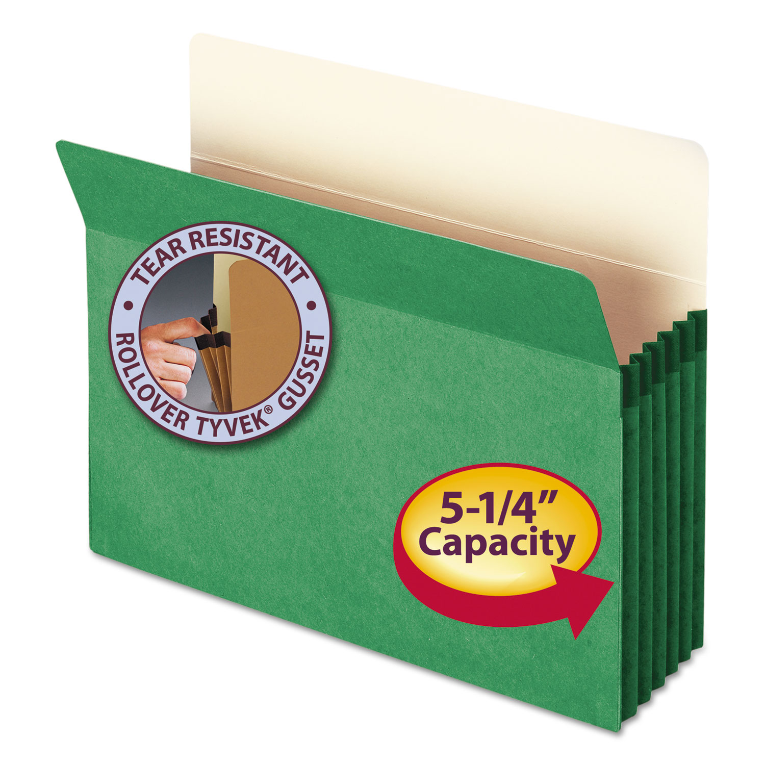 """5 1/4"""" Exp Colored File Pocket, Straight Tab, Letter, Green"""