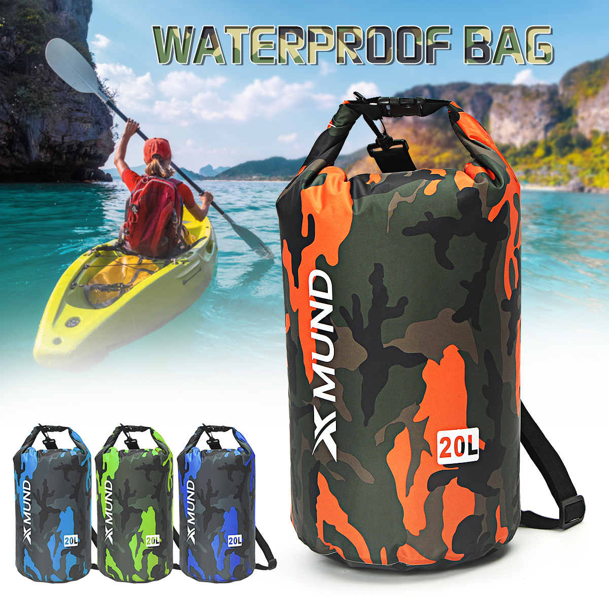20L Sports Waterproof Dry Bag Backpack Pouch Floating Boating Kayaking Camping by