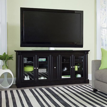 Sauder Palladia Street Waxed Black Credenza for TVs up to 70;