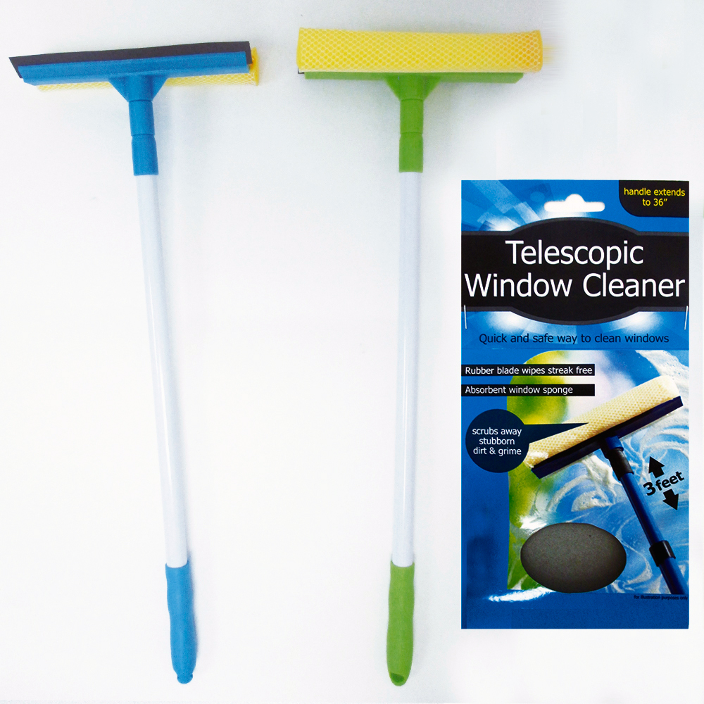 1 Telescopic Window Cleaner Car Squeegee 3 Feet Long Handle Washer Wiper Brush