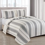 Great Bay Home Modern Stripe Bedspread and Quilt Set. Includes Quilt and 2 bonus Shams. Wesley Collection (Full / Queen - Grey)
