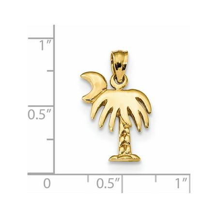 14k Yellow Gold Polished South Carolina Palmetto Symbol (13x22mm) Pendant / Charm - image 1 of 2