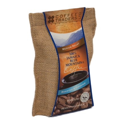 Coffee Traders One-hundred Percent Jamaica Blue Mountain Coffee with Certificate of Origin, Medium Roasted and Ground, 8 Ounce