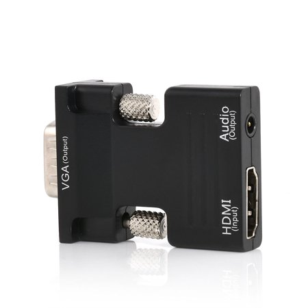 Needleless Connector (1080P HDMI Female to VGA Male Converter Adapter with 3.5mm Audio Cable, HDMI Connector)
