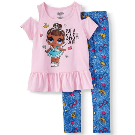Doll Cold Shoulder Tee and Capri Legging, 2-Piece Outfit Set (Little - Legging Outfits For Summer