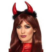"21.5"" Black and Red Devil Horn Women Adult Halloween Headband Costume Accessory - One Size"