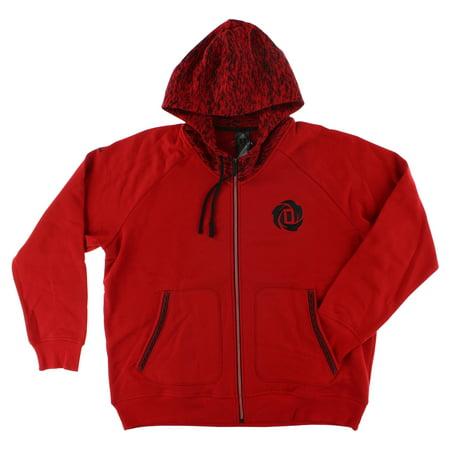 Adidas Mens Derrick Rose Zip Hoodie Red