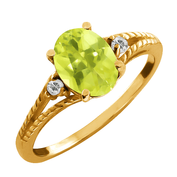 1.70 Ct Oval Lemon Quartz and Topaz Gold Plated Silver Ring