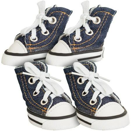 Dog Sneakers - Lookin' Good Sparkle Denim Canvas Dog Sneaker Medium - 4 Shoes - (Paw 2.32\