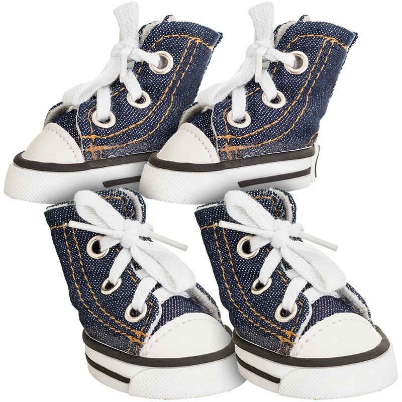 "Lookin' Good Sparkle Denim Canvas Dog Sneaker Medium - 4 Shoes - (Paw 2.32"" Heel to Toe)"