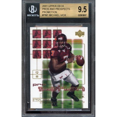 2001 Upper Deck Pros And Prospects Promotion  Pm1 Michael Vick Rookie Bgs 9 5