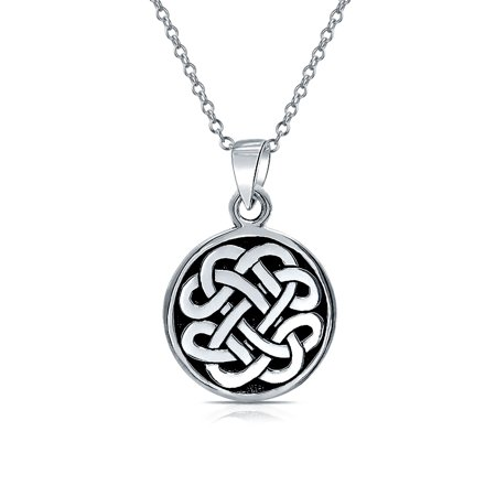 - Celtic Knot Irish Friendship Round Circle Medallion Shield Pendant Sterling Silver Necklace For Women Men 18 In Chain