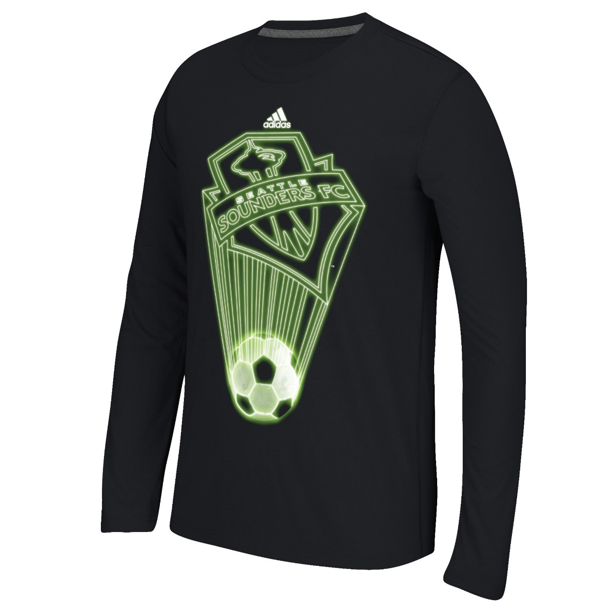 """Seattle Sounders Adidas MLS """"Glow Explode"""" Men's Climalite Long Sleeve T-Shirt"""