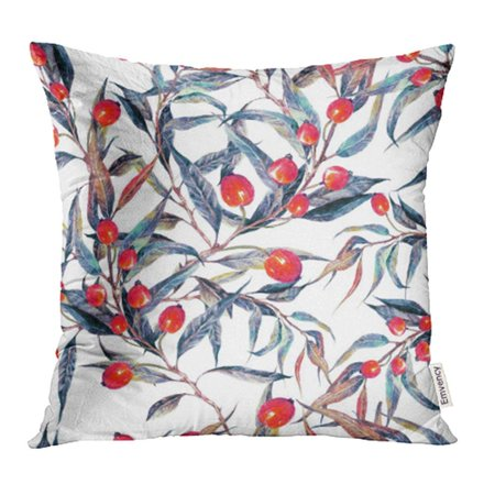 ARHOME Watercolor of Summer Meadow Wildflowers Berries and Leaves White Botanical Pillow Case Pillow Cover 16x16 inch Throw Pillow (Botanical Berry)