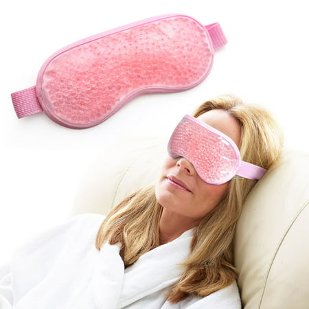 Gel Eye Mask, Hot Cold Therapy for Puffy Eyes, Dark Circles, Migraines, Headache Pain Relief, Adjustable Strap, Soft Fabric, Reusable, - Cold Pack Cold Eye Mask