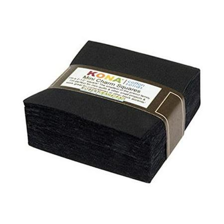 Black Kona Solids Mini Charm Pack; 84 100% Cotton 2.5