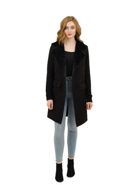 Love Token Harlow Faux Fur Wide Collar Knit Trench Jacket | Extra Small - Black | LT75-39P-XS-BLK