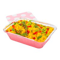 """16 oz Rectangle Pink Aluminum Take Out Container - with Polka Dot Paper Lid - 7 1/4"""" x 5 1/4"""" x 2"""" - 200 count box"""
