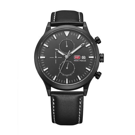 Mens Quartz Watch Black Dial Leather Strap Date Analog Outdoor Sports for Friends Lovers Best Holiday Gift