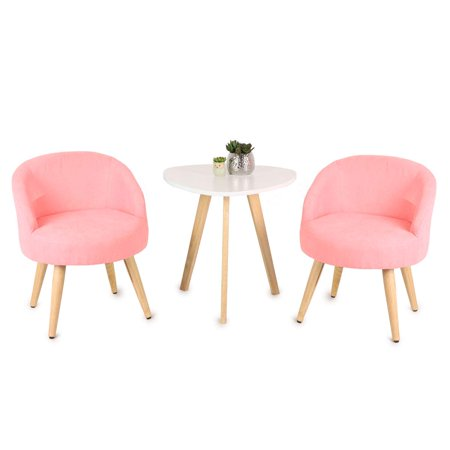 Magshion 2 PCs Fabric Upholstered Dinning Living Room Chairs Guest Chairs Pink, Chair Set of 2