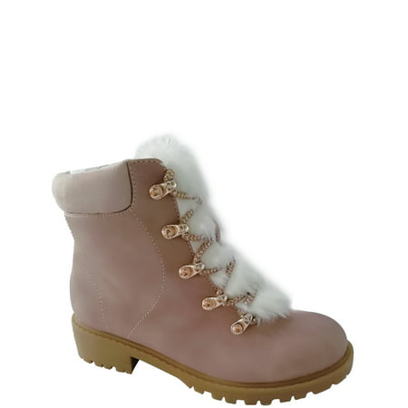 Combat Boots For Kid (Wonder Nation Faux Fur Lined Lace-up Boot (Little Girls & Big)