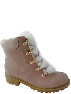 Wonder Nation Fashion Fur Combat Boot (Little Girls & Big Girls)