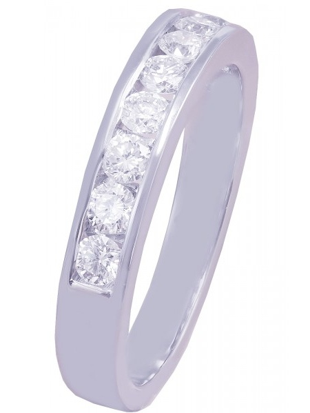 18k White Gold Round Cut Channel Set Diamonds Band Anniversary 0.75ctw by KNR INC