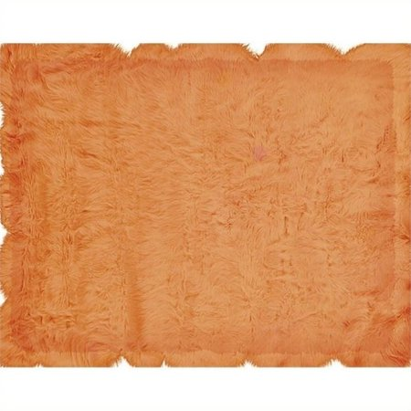 Hawthorne Collection 3 X 5 Faux Sheepskin Area Rug In Orange