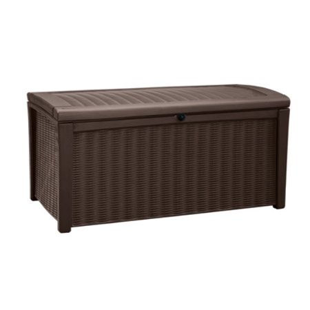 Keter Borneo Outdoor Plastic Deck Box, All-Weather Resin Storage, 110 Gal, Brown ()