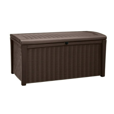 Keter Borneo Outdoor Plastic Deck Box, All-Weather Resin Storage, 110 Gal, Brown