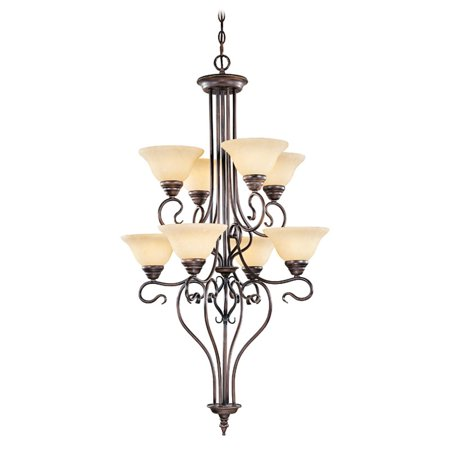 High Country Foyer Chandelier - Livex Coronado 6118-58 26.5 Inch Foyer Chandelier - Imperial Bronze