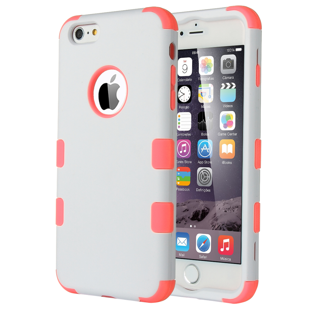 ULAK iPhone 6 Plus (5.5) Case [Hard Plastic] [Silicone] Protective Case Rubber Bumper [Heavy Duty] [Dual-Layer] Cover for iPhone 6 Plus(5.5) 2014 (White+Neon Pink)