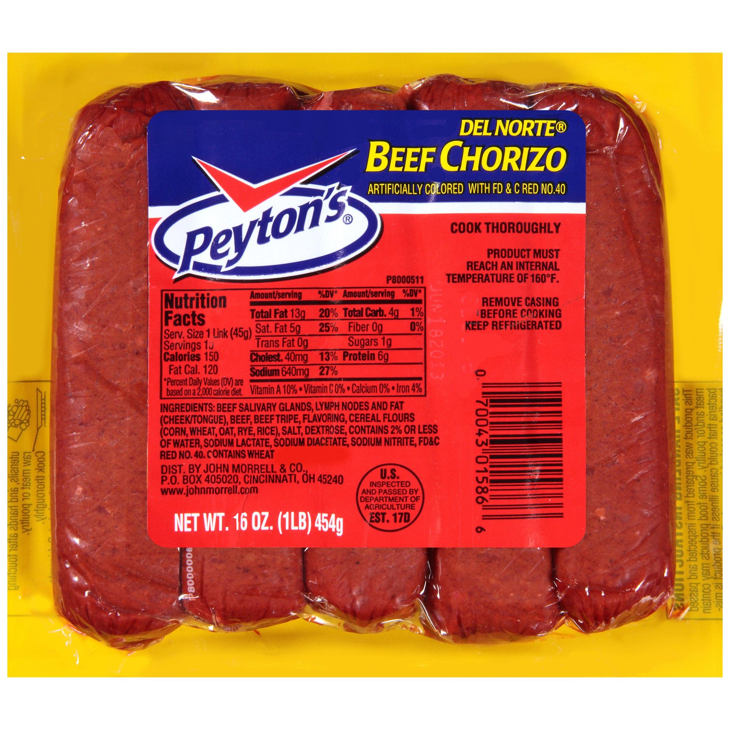 Peyton's Del Norte Beef Chorizo, 16 Oz.