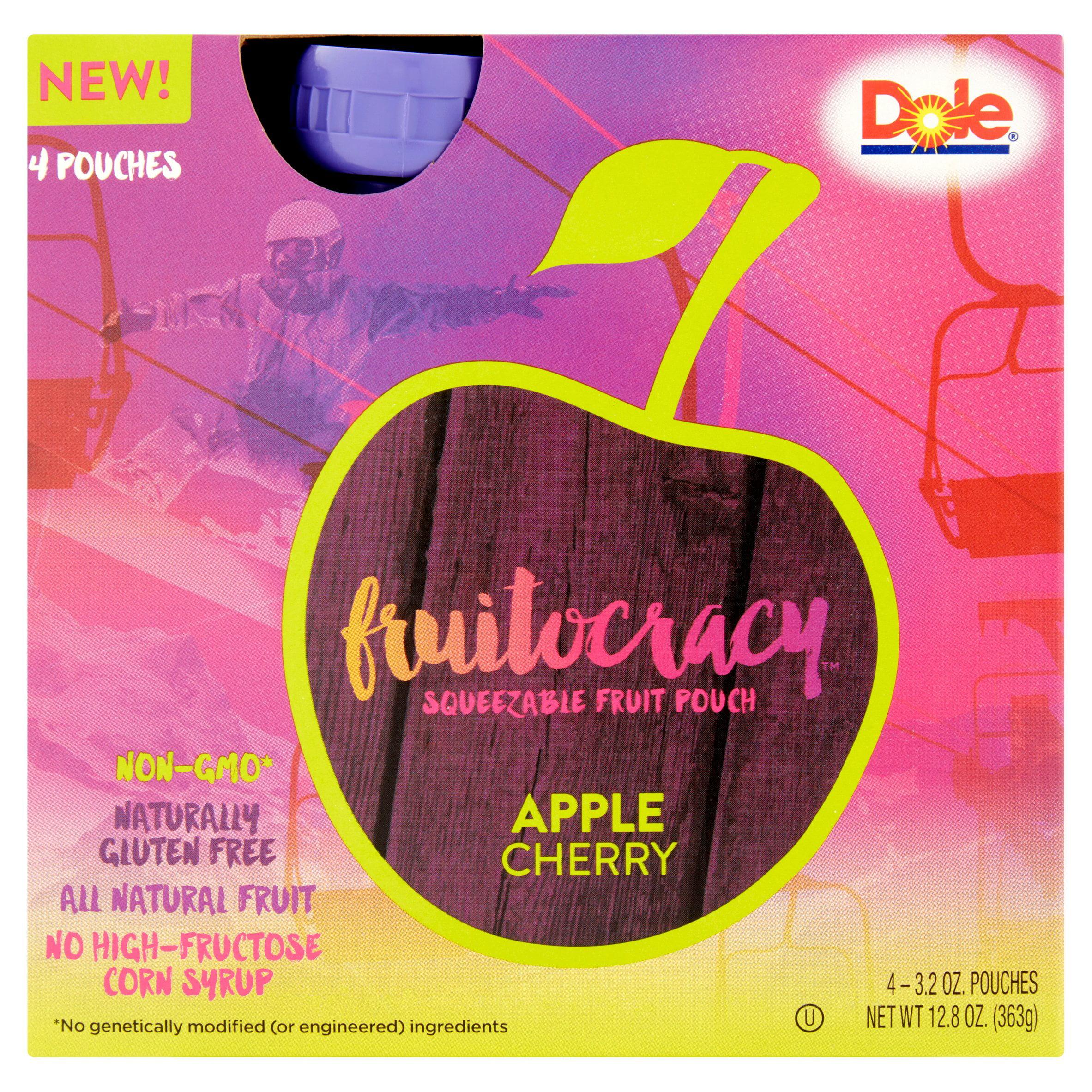 Dole Fruitocracy Apple Cherry Squeezable Fruit Pouch 4 x 3.2 oz (12.8 oz)