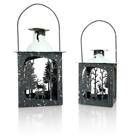 Snow White Centerpieces (Holiday Lantern Set - Pack of 2 - Small and Medium Metal Lanterns - Winter Scene with Deer - Snow Covered)
