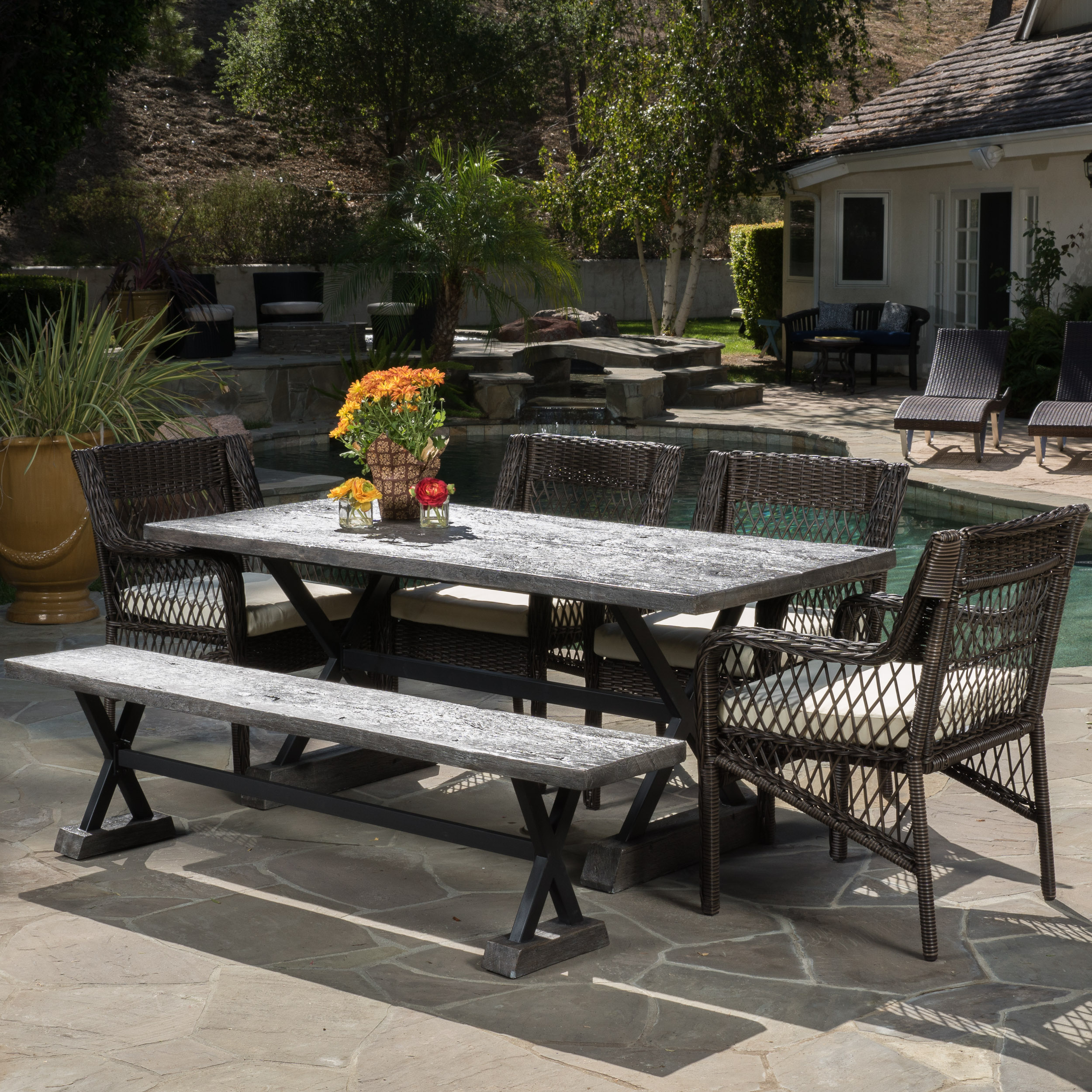 Soto 6 Piece Outdoor Wicker Dining Set with Cushions, Brown